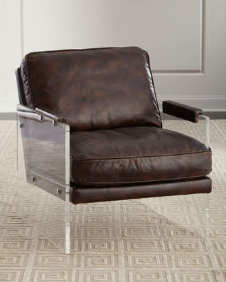 John-Richard Collection John Richard Collection Alter Lucite-Arms Leather Chair