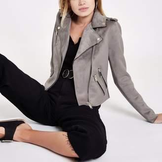 River Island Womens Grey faux suede biker jacket