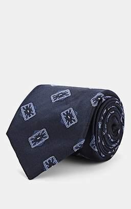 Fairfax Men's Medallion-Pattern Silk Faille Necktie - Navy
