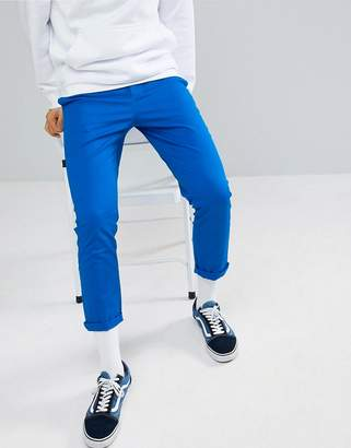 Asos Design Slim Cropped Chinos In Bright Blue