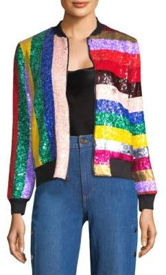 Alice + Olivia Lonnie Sequin Bomber Jacket