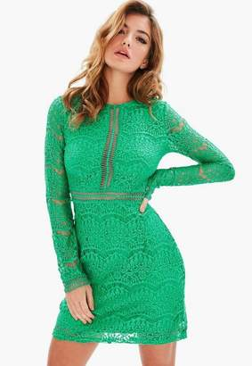 Missguided Tall Green Lace Mini Dress