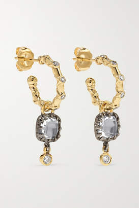Larkspur & Hawk Ladies 14-karat Gold And Rhodium-dipped Quartz And Diamond Earrings - one size