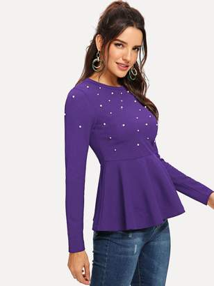 Shein Pearl Beaded Peplum Top