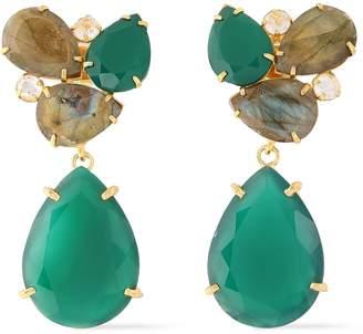 Bounkit Gold-tone, Onyx, Quartz And Labradorite Earrings