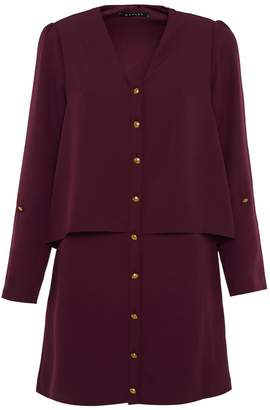 Manley - Layla Tiered Shirt Dress Aubergine