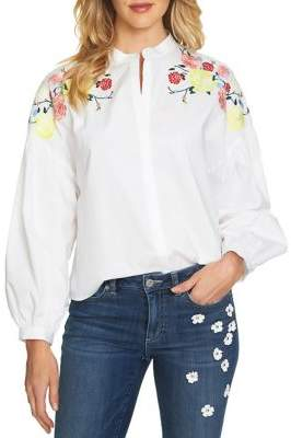 CeCe Embroidered Floral Blouse