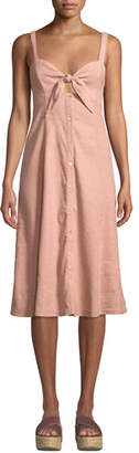 Splendid Dahlia Linen Tie-Front Slub Dress