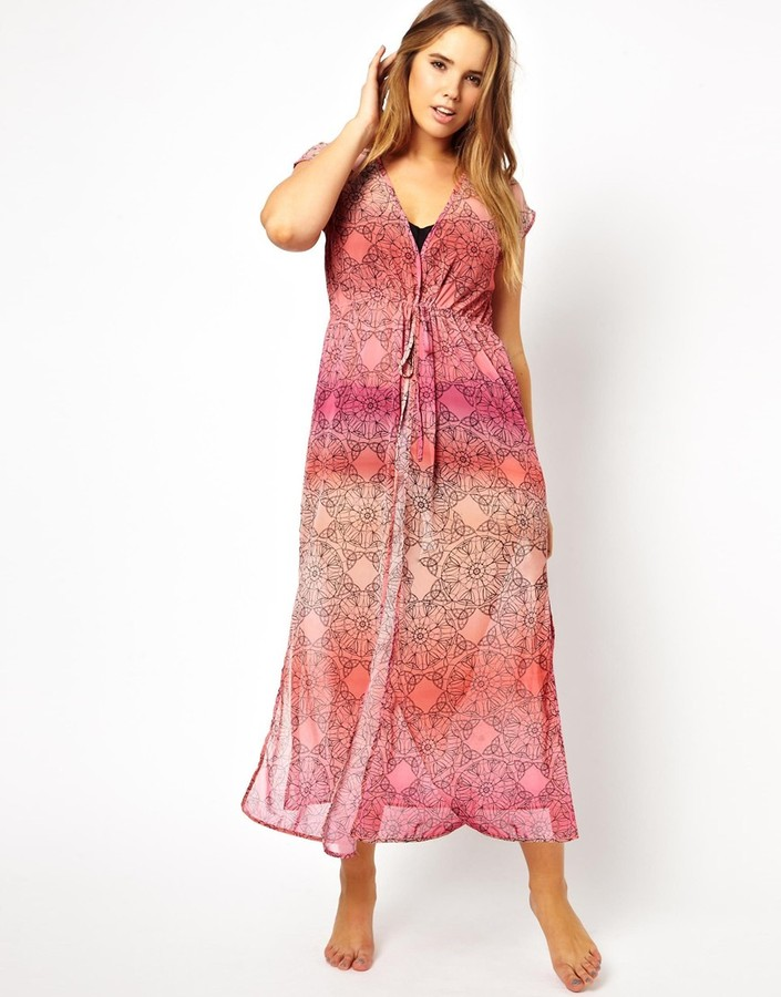 Asos Beach Cover Up In Ombre Print