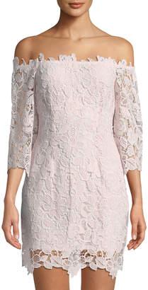 Astr Madeline Off-The-Shoulder Lace Mini Dress