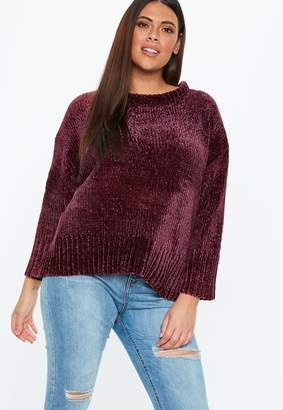 Missguided Plus Size Wine Oversized Soft Chenille Jumper