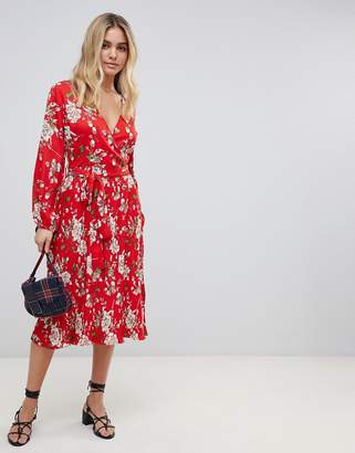Influence midi floral dress with pleated skirt and tie waist