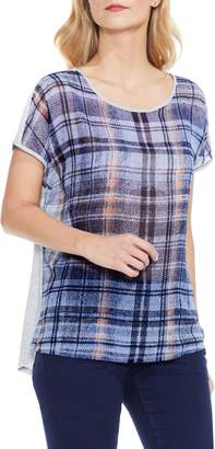 Vince Camuto Plaid-print Mixed-material Top