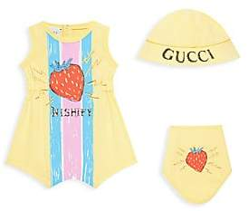 Gucci Baby Girl's Romper, Strawberry Hat& Bib Set