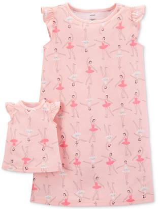 Carter's Carter Little & Big Girls 2-Pc. Ballerina-Print Nightgown & Doll Nightgown