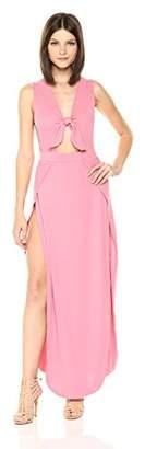 Velvet Rope Women's Ribbed Sleeveless Tie Front Side Slit Maxi Dress