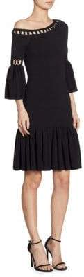 Jonathan Simkhai Chainlink Knit Fit-&-Flare One Shoulder Bell Sleeve Dress