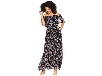 Donna Morgan Off the Shoulder Printed Chiffon Maxi Dress