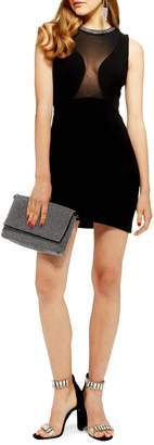 Topshop Jewel Neck Velvet Body-Con Dress