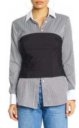 Women's Kendall + Kylie Stripe Bustier Shirt $195 thestylecure.com