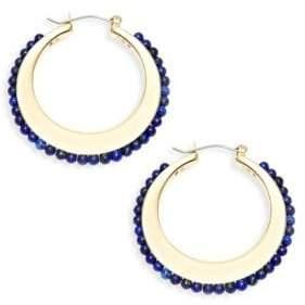 Ava & Aiden Goldtone Lapis Crescent Hoop Earrings