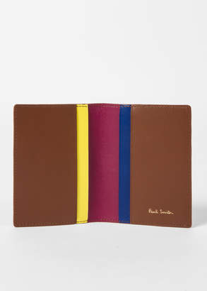 Paul Smith No.9 - Men's Brown Leather Credit Card Wallet With Multi-Coloured Card Slots