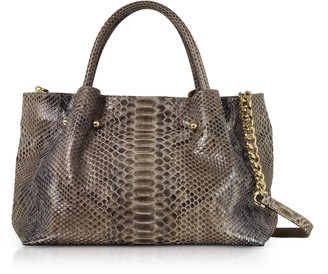 Ghibli Gray Python Leather Satchel Bag