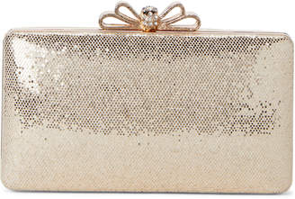 La Regale Rose Gold Bow Shimmer Convertible Clutch