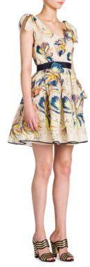 Fendi Silk Applique V-Neck Dress