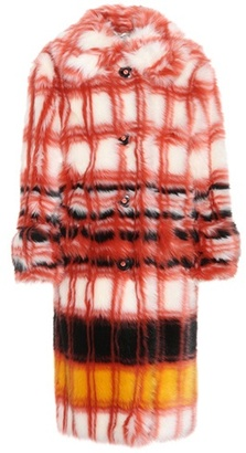 Printed faux-fur coat
