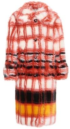 Printed faux-fur coat