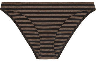 Eres Backgammon Hasard Striped Stretch-lurex Bikini Briefs - Black