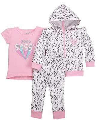 Little Star Organic Newborn Baby Girl Hoodie, T-Shirt, & Pant 3pc Outfit Set