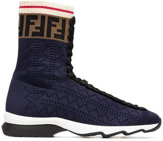 Fendi Rockoko Fabric Hi-Top Sneakers