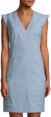 T Tahari V-Neck Chambray Sheath Dress w/ Ruffled Shoulders