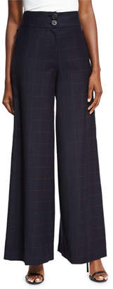 REJINA PYO Beatrice Wide-Leg High-Waist Check Wool Trousers