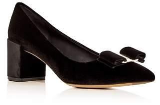 Salvatore Ferragamo Women's Alice 55 Velvet Block Heel Pointed Toe Pumps