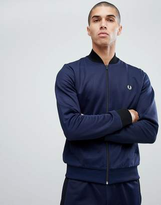 Fred Perry Bomber Neck Track Jacket In Blue