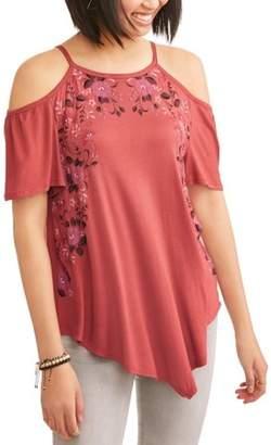 Tru Self Women's Floral Trim Cold Shoulder Peasant Top