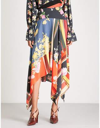 Preen Line Eva contrast-printed chiffon midi skirt