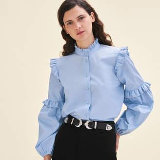 Maje Poplin shirt with frills