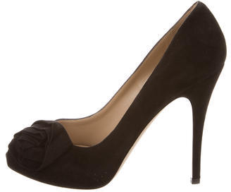 ValentinoValentino Suede Rosette-Embellished Pumps w/ Tags