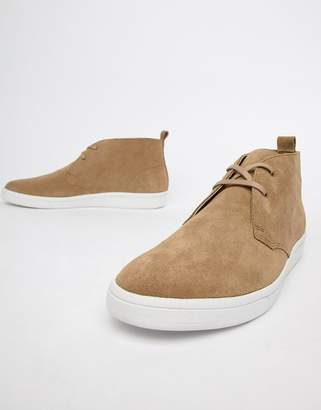 Fred Perry George Cox suede mid chucker boots in sand