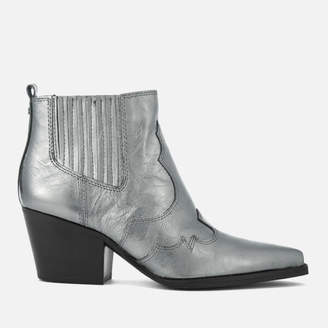 3a7fee80a364d3 Sam Edelman Women s Winona Distressed Metallic Leather Western Boots -  Anthracite