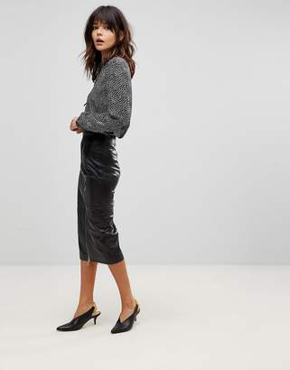 Muu Baa Muubaa Jowette Longline Slit Leather Pencil Skirt
