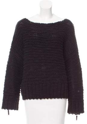 Etienne Aigner Leather-Trimmed Oversize Sweater