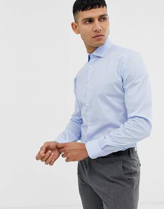 Moss Bros Extra Slim Smart Shirt In Blue With Stretch