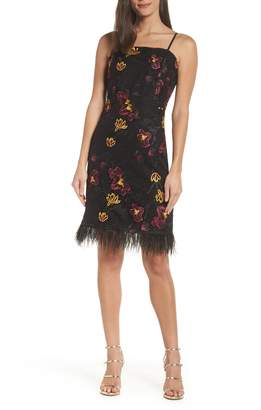 Sam Edelman Feather Trim Embroidered Mesh Sheath Dress