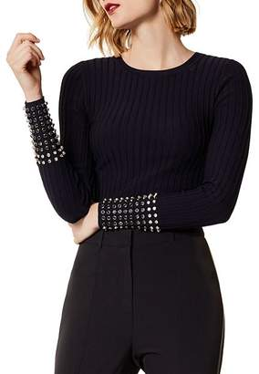 Karen Millen Embellished-Cuff Rib-Knit Sweater