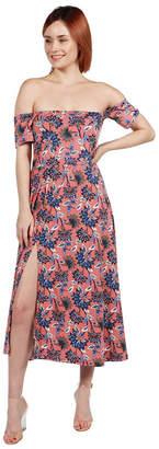 24/7 Comfort Apparel 24Seven Comfort Apparel Nina Pink and Blue FloralSide Slit Dress